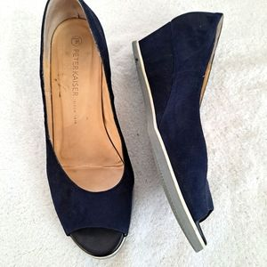 Peter Kaiser Wedge Peep Toe Shoes Size 9-9.5  Navy Blue Suede